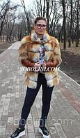 Стильная куртка с мехом лисы,прекрасный мех,не выходящий из моды, в наличии 46р