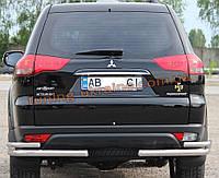 Защита заднего бампера уголки двойные из нержавейки на Mitsubishi Pajero Sport 2008-2015