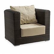 Кресло плетеное из ротанга Kombo коричневое, ротанг искусственный