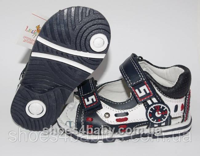 Детские босоножки (сандалии) B&G для мальчика синие с белым