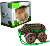 Детская деревянная игрушка для развития Шнуровка-каталка БЕГЕМОТ