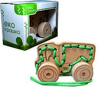 Детская деревянная игрушка для развития Шнуровка-каталка ВАНТАЖІВКА