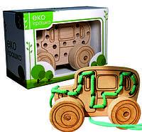 Детская деревянная игрушка для развития Шнуровка-каталка АВТОБУС