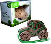 Детская деревянная игрушка для развития Шнуровка-каталка МАШИНКА