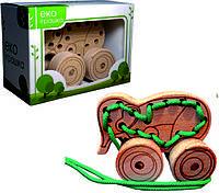 Детская деревянная игрушка для развития Шнуровка-каталка СЛОН