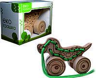 Детская деревянная игрушка для развития Шнуровка-каталка СОБАЧКА
