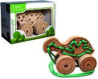 Детская деревянная игрушка для развития Шнуровка-каталка ЧЕРЕПАХА