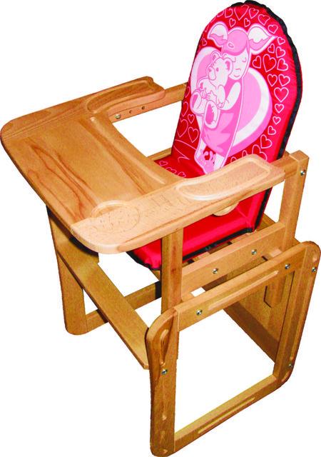 """Деревянный стульчик для кормления """"Девочка"""" для девочки"""