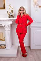 Стильный костюм с брюками Вероника. Красный, фото 1