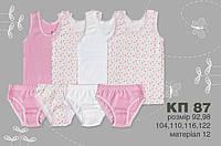 Комплект для девочек Майка + трусы 92 см КП87 (92) Бэмби Украина