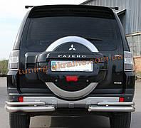 Защита заднего бампера уголки двойные из нержавейки на Mitsubishi Pajero Wagon 2006-2014