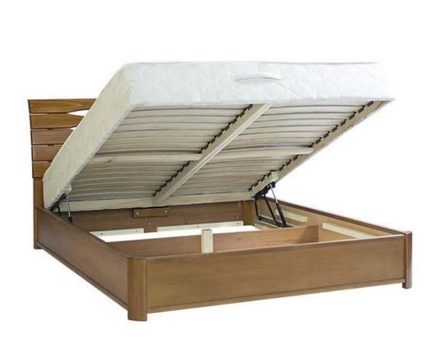 Кровать двуспальная Марита Люкс с подъёмным механизмом Светлый орех