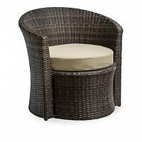 Кресло круглое из ротанга искуссвенного коричневое DISCO