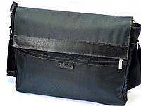 Мужская кожаная текстильная деловая сумка на плечо T&S 1967 серая