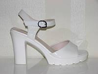 Свадебные босоножки на среднем каблуке белые 36 - 40