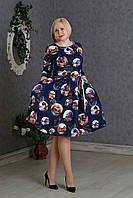 Модное женское платье с рисунком р.48-52 синий V267-05