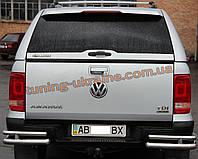 Защита заднего бампера уголки двойные из нержавейки на Volkswagen Amarok 2010