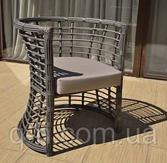 Плетеное кресло из ротанга искусственного Kailash коричневое, фото 3