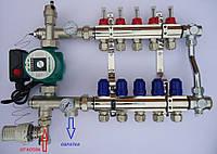 Коллектор на 2-12 выходов для теплого пола с премиум узлом