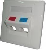 Рамка наклонная для внутренней розетки под вставки Keystone 86х86, 2 порта FP-2P-86