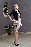 Деловое женское платье-костюм р.48-54 бежевая клетка V276-1