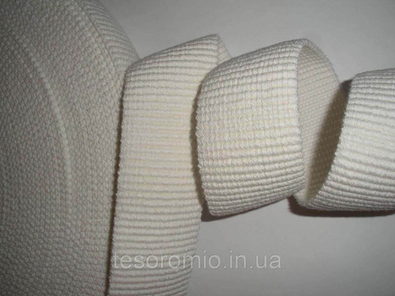 Резинка поясная, декоративная, белая, репсовая, объемная 4см