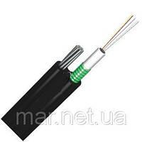Оптоволоконный кабель, 24 волокна одномодовые, монотуб, гофроброня, самонесущий, трос диам. 3мм