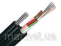 Оптоволоконный кабель, 24 волокна одномодовые, монотуб, самонесущий на стальном тросу 3мм