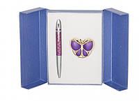 Подарочный набор ручка и держатель для сумки Лета фиолетовый