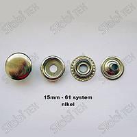 Кнопка одёжная 61 (15мм)  NEW STAR  золото,чёрный никель,никель,оксид