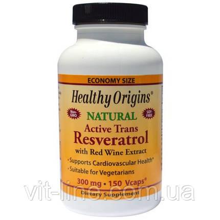 Healthy Origins, Ресвератрол с экстрактом красного вина, 300 мг, 60 вегетарианских капсул, фото 2