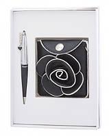 Подарочный набор ручка, кошелек для монет и зеркало Ксения черный