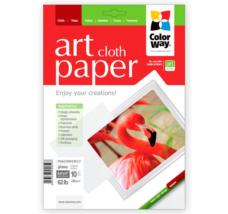 Фотобумага ColorWay глянцевая, с тесненной фактурой имитации ткани, 23