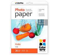 Фотобумага ColorWay матовая, 190 г/м2, Letter, 20 л (PM190020LT)