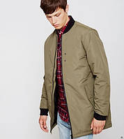 Куртка бомбер D-Struct - Rios зеленого цвета удлиненная мужская (чоловіча)