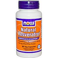 Now Foods, Природный ресвератрол, 200 мг, 60 капсул