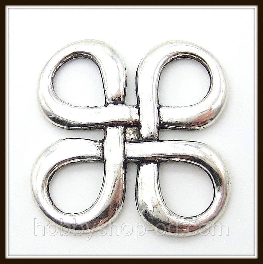 """Коннектор """"Узел"""" серебро (2,8х2,8 см) 3 шт в уп."""