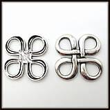 """Коннектор """"Узел"""" серебро (2,8х2,8 см) 3 шт в уп., фото 3"""