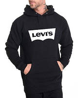 Мужская толстовка черная с принтом Левис Levis Худи