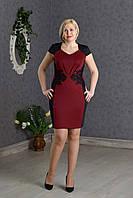 Элегантное нарядное платье женское бордо р.48-52 V274-2