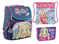 """Набор ранец ортопедический каркасный + сумка + пенал """"1 Вересня"""" Barbie jeans H-11, 553271-1"""