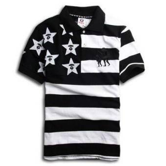 Мужская Футболка Bape Polo Черно-Белая