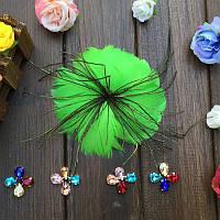 Перо-цветок декоративный Зеленый 12 см 1 шт