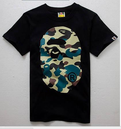 Мужская Футболка Bape Black|Черная| camo logo