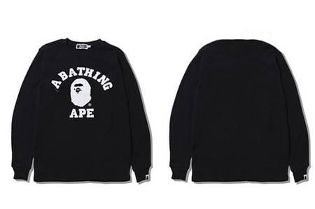Мужская Кофта Свитшот Bape Black| Черная | big logo