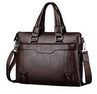 Мужская сумка VKTERY под формат А4. Размер 37-29-8 см. Темно-коричневая.