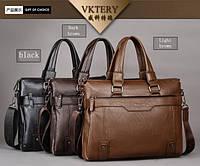 Мужская сумка VKTERY под формат А4. Размер 37-29-8 см. Светло-коричневая