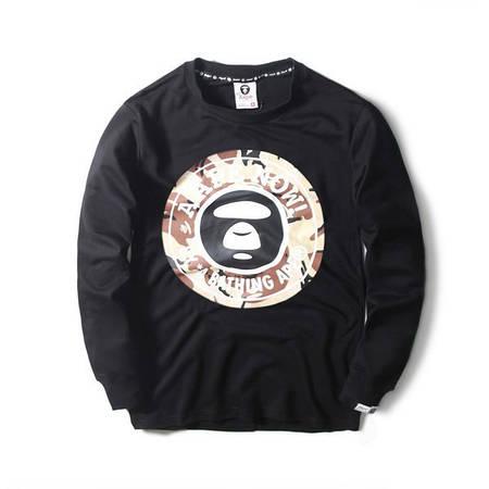 Мужская Кофта Свитшот Bape Black| Черный| круглый лого камо 1