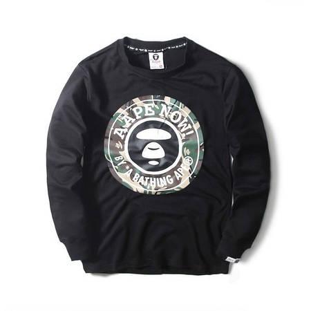 Мужская Кофта Свитшот Bape Black  Черный  круглый лого камо 2