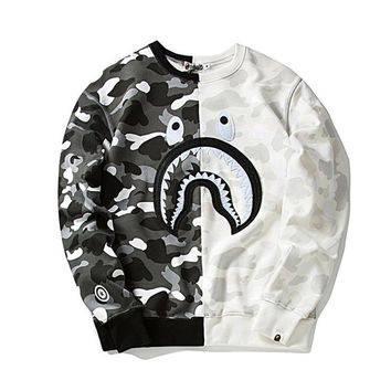 Мужская Кофта Свитшот Bape Camo and White| Камо и Белый| акула лого